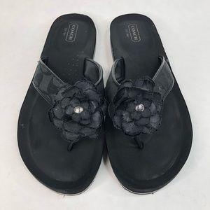 Coach Jillian Black Flower Medallion Sandal